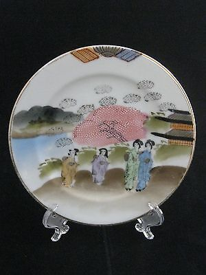 Antique Japanese Hand Painted Fine Porcelain Geisha Dessert Plate Red Stamped