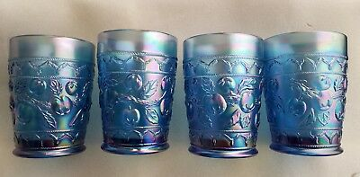 Lot of 4 Fenton Blue Carnival Glass Tumbler - Apple Tree Pattern