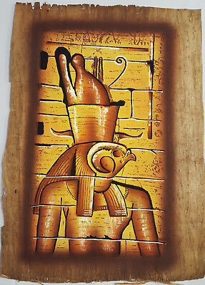 NATURAL PAPYRUS FROM EGYPT HAND PAINTED ANCIENT EGYPTIAN GOD HORUS LARGE 41x31cm