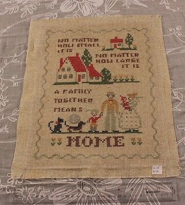 """Old Vintage Genuine American Home, Dogs, Family Cross Stitch Sampler~15""""LX12""""W"""