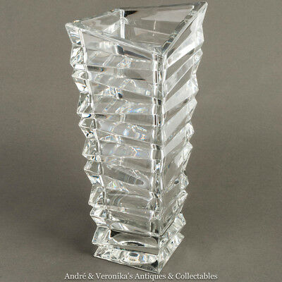 "MODERN Zig Zag Angular CRYSTAL VASE 12"" Faceted Glass Heavy Designer Quality"
