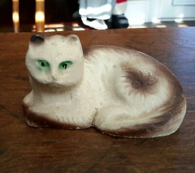 """Antique Cat Chalkware Solid Circa Early 1900s Nice Condition 5"""" Long 2 1/2"""" High"""