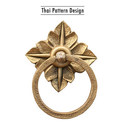Vintage Brass Door Knocker Thai Pattern Traditional Retro Home Decoration