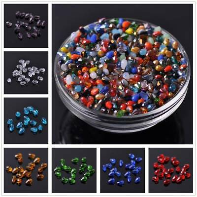 Wholesale 100pcs 5X3mm Teardrop Faceted Crystal Glass Loose Spacer Bead Jewelry