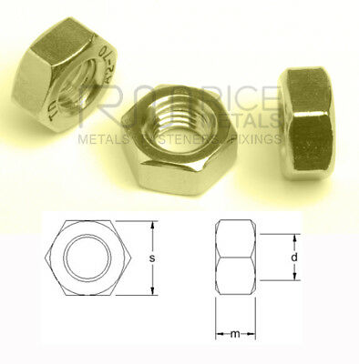 Brass Nuts Hexagon Full Nuts Din 934 Brass Nuts for Bolts & Screws M2 - M24