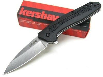 KERSHAW Black DIVIDEND Assisted Stonewash Straight Folding POCKET Knife! 1812