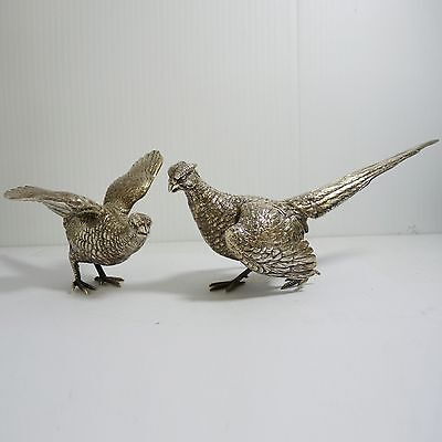 Antique Vintage 925 German Pair of Silver Table Pheasants Marked