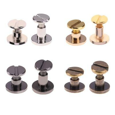 20pcs Brass Round Head Stud Screwback Leather Craft Bag Chicago Screw Nail Rivet