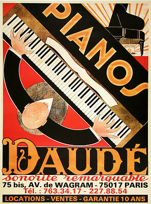 Original Vintage Poster Pianos Daude c1975 Art Deco Music French