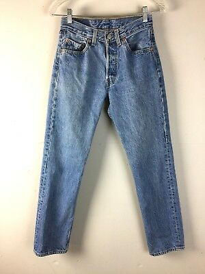 Vtg 90s Levis 501 Student Jeans 701 Button Fly 26x29 Faded Wash Straight Leg