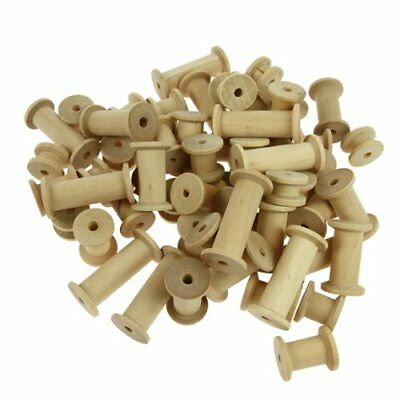 Wooden Bobbins Spools Assorted Sizes 30 Pack Sewing Cotton Reels Craft Ribbon