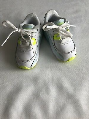 new style eabe9 a3cc5 Toddler Baby Nike Air Max 90 Sneakers, White Glacier Blue Volt 833379-