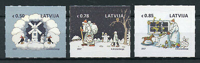 Latvia 2017 MNH Christmas 3v S/A Set Windmills Father Christmas Snowman Stamps