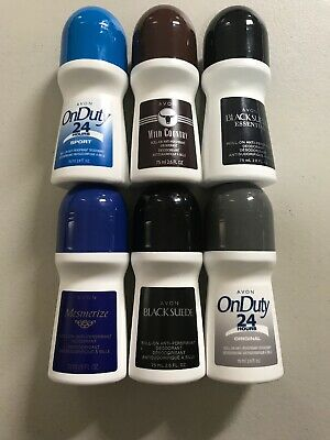 *Lot of 6*  Avon Men's Roll-On Deodorant Mixed Lot Wild Country Black Suede