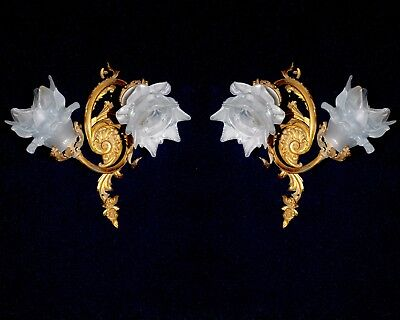 Pair Of Stunning Antique French Ormolu Bronze/ Brass Sconces Rococo
