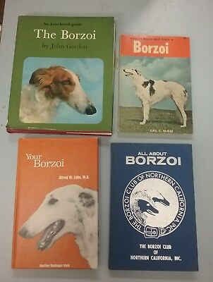 4 Borzoi Russian Wolfhound Books from the 1970's