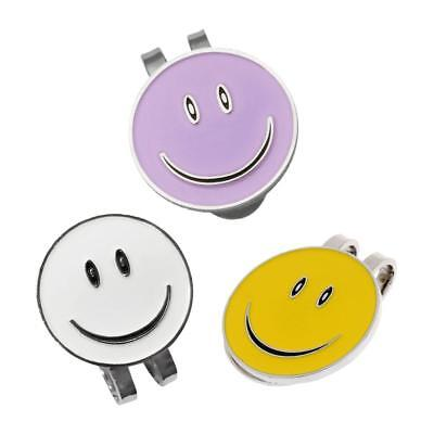 3 x Smile Face Magnetic Hat Clip and Golf Ball Marker Clip On Golf Cap