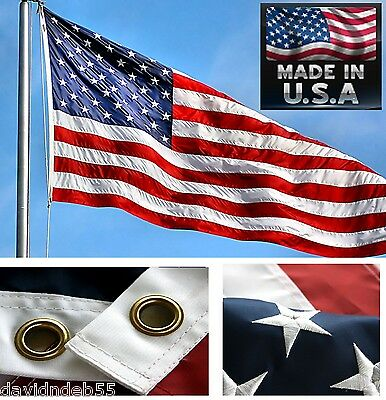 12-USA MADE 3x5 ft US EMBROIDERED&SEWN 2-SIDED HEAVY DUTY 300D NYLON FLAG Banner