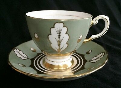 Tuscan Fine Bone China England Footed Cup & Saucer D1905 Green/Gold on White