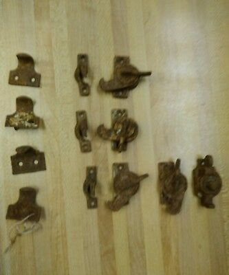 Antique Victorian Eastlake Cast Iron Window Sash Latches Locks & Lifts