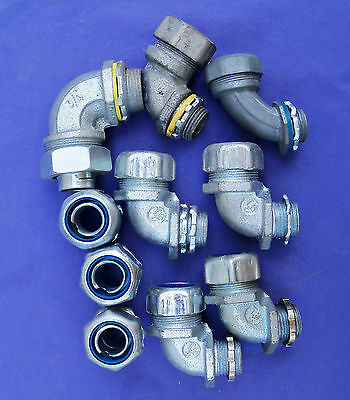 "Mixed Lot Liquidtight Connectors 1/2"" & 34"" Insulated Metallic Conduit Fittings"