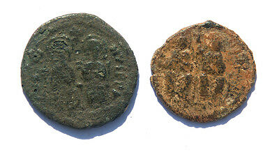 Byzantine Empire. Justin II and Sophia. Lot of two Folles Cyzicus  mint.