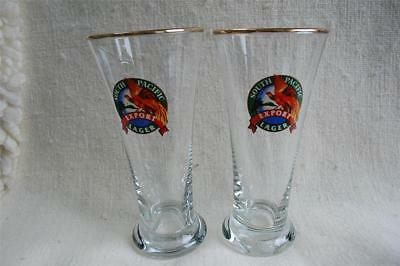 2 South Pacific Export Lager Pilsner Glasses Papua New Guinea Beer of Paradise