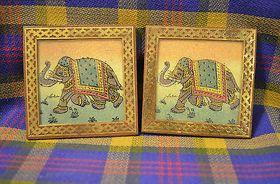 Pair of Vintage Wood/Glass/Brass Square Elephant Coasters-NEAT