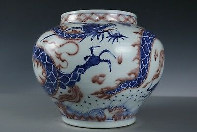 Chinese Beautiful Fine Big Blue and white glaze red Porcelain Dragon Jar