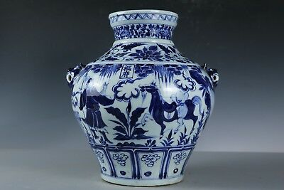 Chinese Beautiful Fine Blue and white Porcelain Tiger head Figure Jar