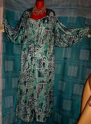 Vintage Blue Multi-color Lucie Ann Silky Nightgown Robe SET, Lingerie Slip
