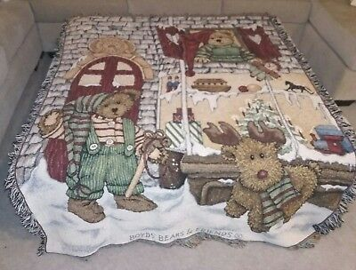 Boyds Bears & Friends Tapestry Throw Blanket Christmas Holidays 52 x 70