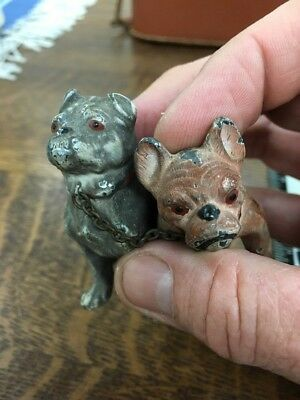 Vintage Pair Of Fierce Pit bulls Or French Bulldogs  Metal Figures