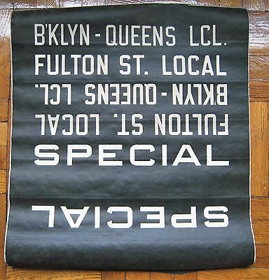 Vintage New York R-10 Subway Car Roll Sign Section Brooklyn Queens Fulton Street