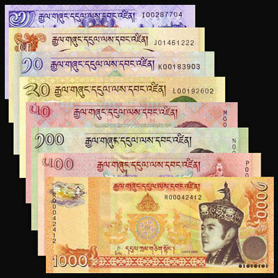 Bhutan Set 8 PCS,  1 5 10 20 50 100 500 1000 Ngultrum, P-27-34 , UNC