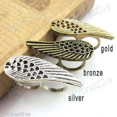 Hollowed Angel Wing 2 Two Double Finger Ring Silver Gold Bronze Antique Look