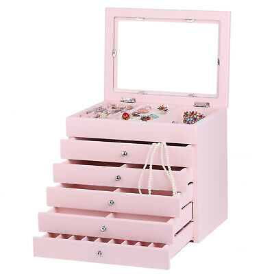 AU Large Wooden Jewellery Boxes Girls Necklace Rings Display Organiser Glass Top