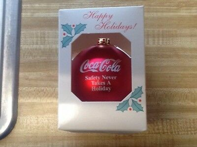Coca Cola Happy Holidays Christmas tree bulb. Safety Never Takes A Holiday.