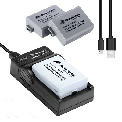 2Pack LP-E5 Battery + USB Charger for Canon EOS 1000D 500D 450D Rebel T1i XSi