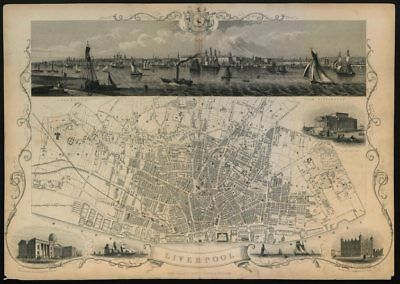 Decorative antique town plan of LIVERPOOL by Tallis, Rapkin & Winkles 1851 map