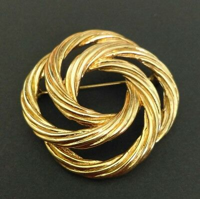 1970s Vintage Signed Monet Gold Plated Wreath Modernist Brooch Pin Jewellery