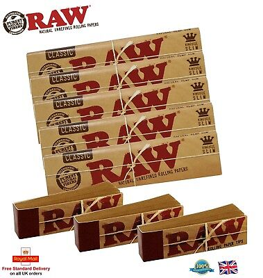 5 RAW Classic Kingsize Slim Rolling Papers & 3 Raw Tips Authentic Raw King Size