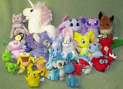 "20 NEOPETS Plush 10"" to 4"" Talking White UNI + 3 POKEMON Stuffed Animal Lot Toys"