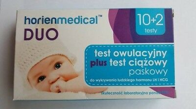Test Owulacyjny x10 i Test Ciazowy x2, 10 Ovaluation Tests & 2 Pregnancy Tests