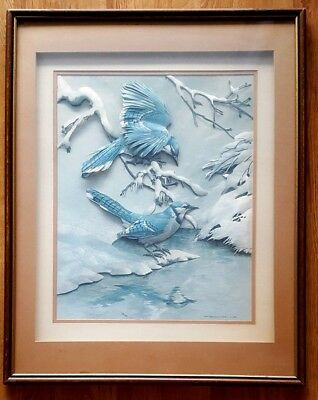 "1968  BASIL EDE Blue Jays In Winter 3D 3 DIMENSIONAL 29.5"" x 19.75"" FRAMED PRINT"