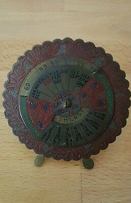 Vintage Old Indian 1955 - 1974 Painted Brass Rotating Dial 20 Year Desk Calendar