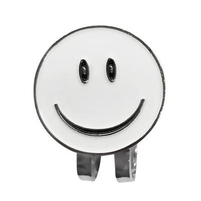 White Smile Face Golf Ball Marker with Magnetic Hat Clip Golf Accessories