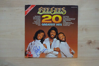 "Robin Gibb Autogramm signed LP-Cover Bee Gees ""20 Jahre Greatest Hits"" Vinyl"