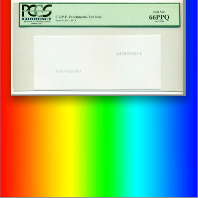 PCGS 66 PPQ Experimental Test Note ONLY GOVERNMENT-MADE CURRENCY PATTERN!!! RARE