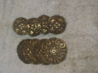 Set of Four Vintage Brass Drawer Pulls USA 9603 2 pc each